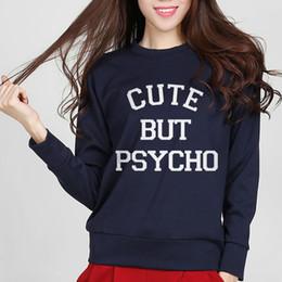0b177c7ac9 European Style CUTE BUT PSYCHO Letters Print Women Fashion Tracksuit  Sweatshirt Cotton For Lady Hip Hop Casual Hoody Streetwear