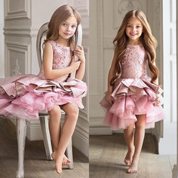 Girls beauty paGeant dresses blue online shopping - Gorgeous Pink Toddler Flower Girl Dress For Wedding A line Knee Length Beauty Pageant Dress Christmas Ruffles Girl Evening Party Gown