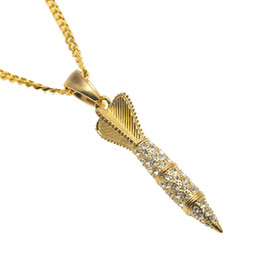 China Bling Bling Gold Color Rhinestone Iced Out Military Rocket Arrow Dart Pendant Necklace Hip Hop Style Rapper Jewelry cheap steel darts suppliers