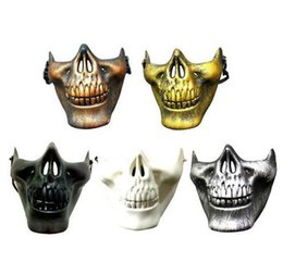 Discount skull half face paintball mask - 2017 new CS Mask Carnival Gift Scary Skull Skeleton Paintball Lower Half Face facemask warriors Protective Mask For Hall