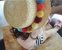 Fashion Trends Hair Canada - New fashion trend cute color hair ball flat top straw strawberry hat sunscreen camera decoration cap children section