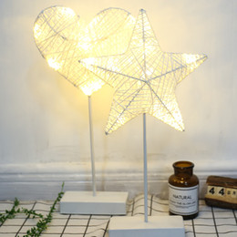 battery powered warmer 2019 - Hand Crafted 40cm Warm White LED Night Light Star Heart Love Shape Weave Lamp Battery Power Girls Room Romantic Decorati