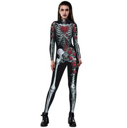 Chinese  Halloween Costumes For Women Sexy 3D Rose Skull printing Jumpsuits Tight Spiderman Cosplay Catsuit Costumes manufacturers