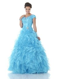 Barato Corset Frisado Manga Prom Vestidos-Blue Ruffles Organza Ball Gown Modest Prom Dresses Com Manga Curta Corset Beaded Bodice Formal Prom Gowns Princess Custom Made