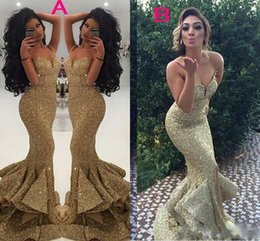 pageant skirts 2019 - 2019 Gold Bling Bling Sequins Front Split Evening Dresses Tiered Skirts Mermaid Prom Pageant Gown Sexy Spaghetti Straps