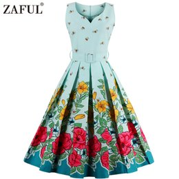 v ball UK - Wholesale- ZAFUL Brand 2017 Vintage V Neck print Women Dress Retro Robe Rockabilly Hepburn 50s Party dresses Plus Size Feminino Vestidos