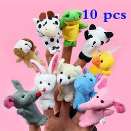 $enCountryForm.capitalKeyWord NZ - Animal Finger Puppet Cartoon Stuffed Toys for Kids Story Talking Helper Early Education Plush Toys 10 pcs a set