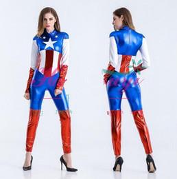 $enCountryForm.capitalKeyWord Canada - Captain America Costume Superhero Cosplay Women Skinny Suit Ladies Captain America Role Play Movie Halloween Party Costumes