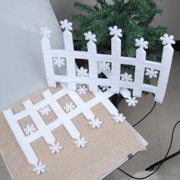 $enCountryForm.capitalKeyWord Canada - Wholesale- 2pcs White Fence Snowflake Shape Pendant Ornament Window Door Xmas Tree Garden Wall Christmas Home Decorations Happy New Year