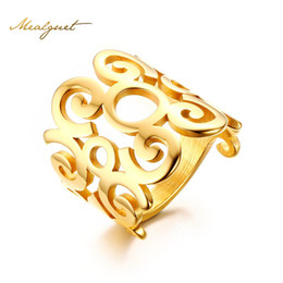 $enCountryForm.capitalKeyWord NZ - Meaeguet Women Rings Stainless Steel Charm Finger Knuckle Flower Hollow Out Band Ring Gold-Color Fashion Cocktail Jewelry 2017 R-295