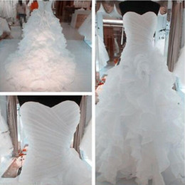 $enCountryForm.capitalKeyWord Canada - Real Image Wedding Dresses High Quality Ruched Top Sweetheart Neck Sleeveless Ruffles Skirt Lace-up Corset Back Organza Bridal Gowns Custom