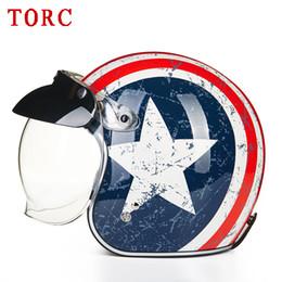 $enCountryForm.capitalKeyWord Canada - TORC Motorcycle Helmet Antiqued Scooter Helmets Vintage Open Face Capacete Moto 3 4 Casco And Add Visor T 50 Model