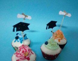 $enCountryForm.capitalKeyWord Australia - Custom personality 30pcs NEW glitter school class graduation Cap with white Diploma cupcake toppers Food Picks party decorations