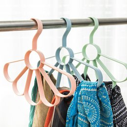 Tied Scarves NZ - 2017 New ! Candy Colored Multi-function 5 Holes Scarves Rack Plastic Tie Hangers Belt Storage Rack 4 Colors For Choose