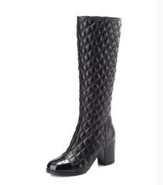 Discount thigh high boots diamond - Women Low-heel Diamond Lattice zipper boots Winter Classic luxury Fashion Brand Genuine Leather Ladies Sheepskin sexy Ca