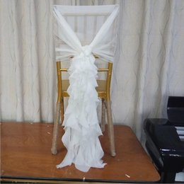 champagne chair organza Australia - Ruffled Chair Sashes White Ivory Champagne Chair Covers Custom Made Organza Tulle Wedding Supplies Chair Decorations Fast Shipping