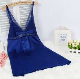 Women Satin Nighties Canada - Ladies Sexy Silk Satin Nightgown Lace Nightdress Sleeveless Nighties V-neck Night dress Summer Sleep Dress Nightwear For Women