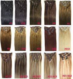 """ZZHAIR 16 """"-32"""" 8PCS Set clip in / on 100% brasiliano remy prolunga capelli umani piena testa 100g 120g 140g naturale dritto in Offerta"""