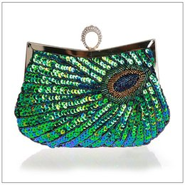 Ladies Evening Handbags Canada - Wholesale- 2016 PEACOCK Clutch Handbag,red green gold paillette Embroidery Ladies Evening Bag Wedding Party Purse Makeup Clutches WY23
