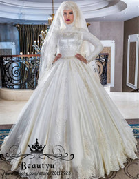 gelinlik wedding dresses 2019 - Princess Muslim Lace Ball Gown Wedding Dresses High Neck Long Sleeve Puffy 2018 Gelinlik Plus Size Victorian Bridal Gown