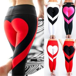 Habillement Pas Cher-Women Stretch Compression Yogo Gym Pants Sexy Hip Love Print Patchwork Push Up Leggings Vêtements féminins Fitness Running Sport Pantalons ZL331