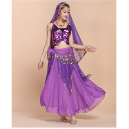 $enCountryForm.capitalKeyWord NZ - Wholesale High-End Sexy Indian Belly Dance Dress 6PCS Butterfly Bra Tops+Highlights Skirt+Veil+Belt Costume Women Exotic Clothing Set