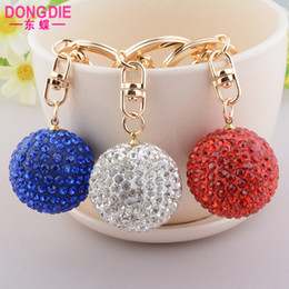 $enCountryForm.capitalKeyWord Canada - Car key chain wholesale color full diamond crystal ball key chain ladies bag wholesale