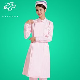 19272cf1aa9 White coat suits nurse white pink long sleeves qiu dong with thickening  customized uniform pharmacy overalls and beauty