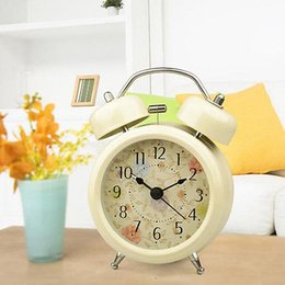 Wholesale HOT Pastoral Style Metal Twin Double Bell Bedroom Desk Table Alarm  Clock Desk Clock