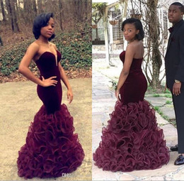 Discount pink velvet pageant gowns - African Arabic Burgundy Mermaid Prom Dresses 2017 Cheap Long Velvet Pageant Party Wear Sweetheart Ruffle Skirt New Eveni