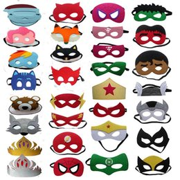 Discount cartoon eyes for costume - High quality 108 styles Superhero Kids Cartoon Eye Masks Halloween Christmas Captain America Wolverine Party Costumes ma