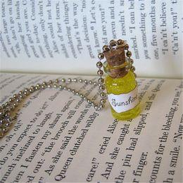 Necklace bottles cork online shopping - 12pcs Sunshine necklace Yellow Happiness Charm Cork glass Bottle Pendant jewelry