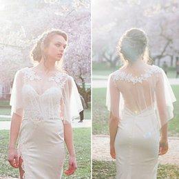 2018 Modestos Vestidos De Noiva Encolhe Bolos De Casamento Boêmio Apliques de Renda Tule De Noiva Xales Boho Jaquetas De Noiva em Promoção