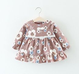 $enCountryForm.capitalKeyWord NZ - Clear Stock Little Girls Flower Dress Tops 2018 Fall Kids Boutique Clothing Korean Baby Girls Cotton Long Sleeves Dresses with Lace Waist