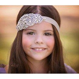 Toptan satış Düğün parti Yüksek Kaliteli saç bandı çiçek çocuk Boncuk Inci Çocuklar Egnes şapkalar Rhinestone Prenses saç HeadBands Çocuk Kız beyaz