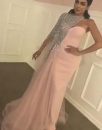 Wholesale islamic arts resale online - Evening Dresses Luxury Arabic Islamic One Shoulder Crystal Beaded Pink Mermaid Back Split Long Formal Dubai Abaya Party Dress Prom Gown