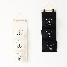 Fabric Compress Canada - Storage Hanging Bag Cartoon Expression Fabric Art Three Pockets Canvas Storage Bags Versatile A Variety of Colors Hot Sell 11gz J R