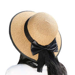 246b3c2d Wholesale- Leechee H008 Hot style Summer sun hat women fashion on beach  Wide Brim Beach Side Cap Floppy Female Straw silk bow bucket hat