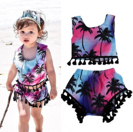 Baby Girl Summer Suits Canada - 2Pcs Set Toddler Kids Baby Girls Clothes Floral Tassel Multicolor suits Summer Baby Girls Sleeveless Top + A Pair of Shorts Outfits 1-5T