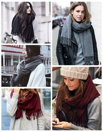 $enCountryForm.capitalKeyWord Canada - Star style Cashmere Scarf Pashmina unisex plain scarf wool for ladies and men oversized warm Tassels shawl scarf Wrap for winter