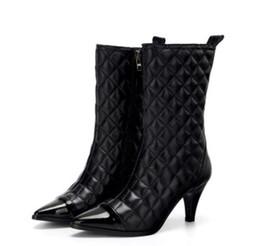 Discount thigh high boots diamond - Women Heel Classic Diamond Lattice boots Winter New Arrival Classic luxury Fashion Brand Genuine Leather Ladies stitchin