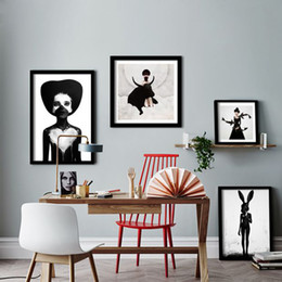 canvas prints paintings NZ - Cuadro Nordic Decoration Wall Art Canvas Painting Posters And Prints Black Girl Wall Pictures For Living Room Scandinavian Poster No Frame