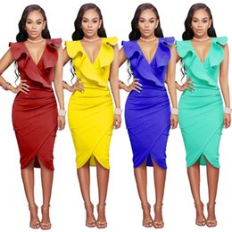 Robes De Soirée V Neck Midi Pas Cher-Fashion Women / Lady Deep V Neck Bandage Bodycon sans manches Evening Party Cocktail Mermaid MIDI Club Dress 4 Couleurs