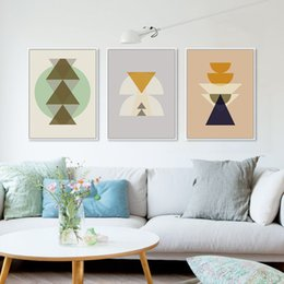 Hipster Painting NZ - Triptych Modern Minimalist Nordic Totem Maya Inka Symbol A4 Abstract Art Print Poster Hipster Picture Canvas Painting Home Decor