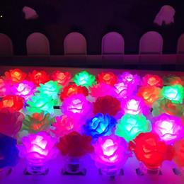 Blink Toy NZ - Lotus flower led light up finger ring toys glow flower Bubble Elastic Ring Rave Party Blinking Soft Finger Lights for halloween party Disco