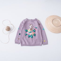 Barato Parte Superior Roxa Da Menina-Everweekend Girls Dots Deer Floral Knit Sweater Cute Baby Purple Color Tees Sweet Kids Western Fashion Fall Tops