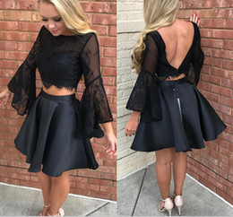 Le Soir, Porter Des Mini Tops Pas Cher-Black Two Pieces Robes Party Evening Wear Lace Top trompette manches longues Short Robe de retour Robe de bal Backless Cheap Vestidos Festa