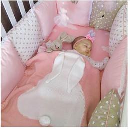 Discount unisex baby blankets crochet - Kids Newborn Rabbit Blankets Baby Cartoon Ins Bunny Crochet Knitted Bed Sofa Towel Mantas Bed Spread Bath Towels Napping