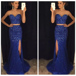 Barato Vestidos De Formatura Promocionais On-line-Sparkling Bling Bling Mermaid Prom Dresses Royal Blue Slim Sexy High Leg Split Personalizado Online Vestidos De Soiree Sweep Train Crystal Beaded