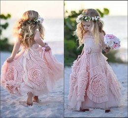 christmas pageant wear for toddlers 2019 - Cute Pink Flower Girls Dresses For Wedding 2017 Custom Made Lace Applique Ruffles Kids Formal Wear Sleeveless Long Beach
